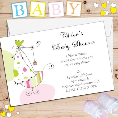 10 Personalised Baby Shower Party Invitations N3